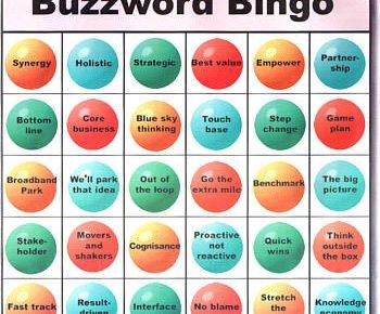 "A bingo card marked ""Buzzword Bingo"""