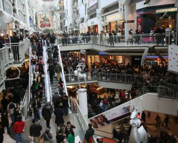 A photo of a crowded shopping mall