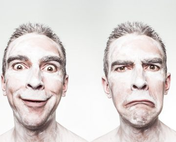 Two side-by-side portraits of the same man with a happy and an unhappy expression