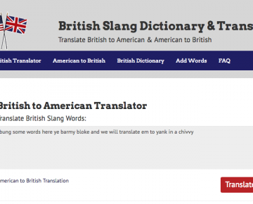 A screenshot of a British-American translator website and an online British slang dictionary